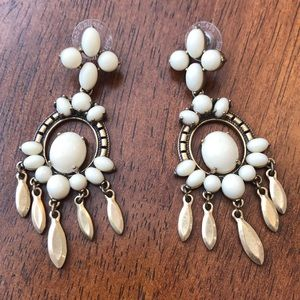 Stella & Dot White Chandelier Earrings